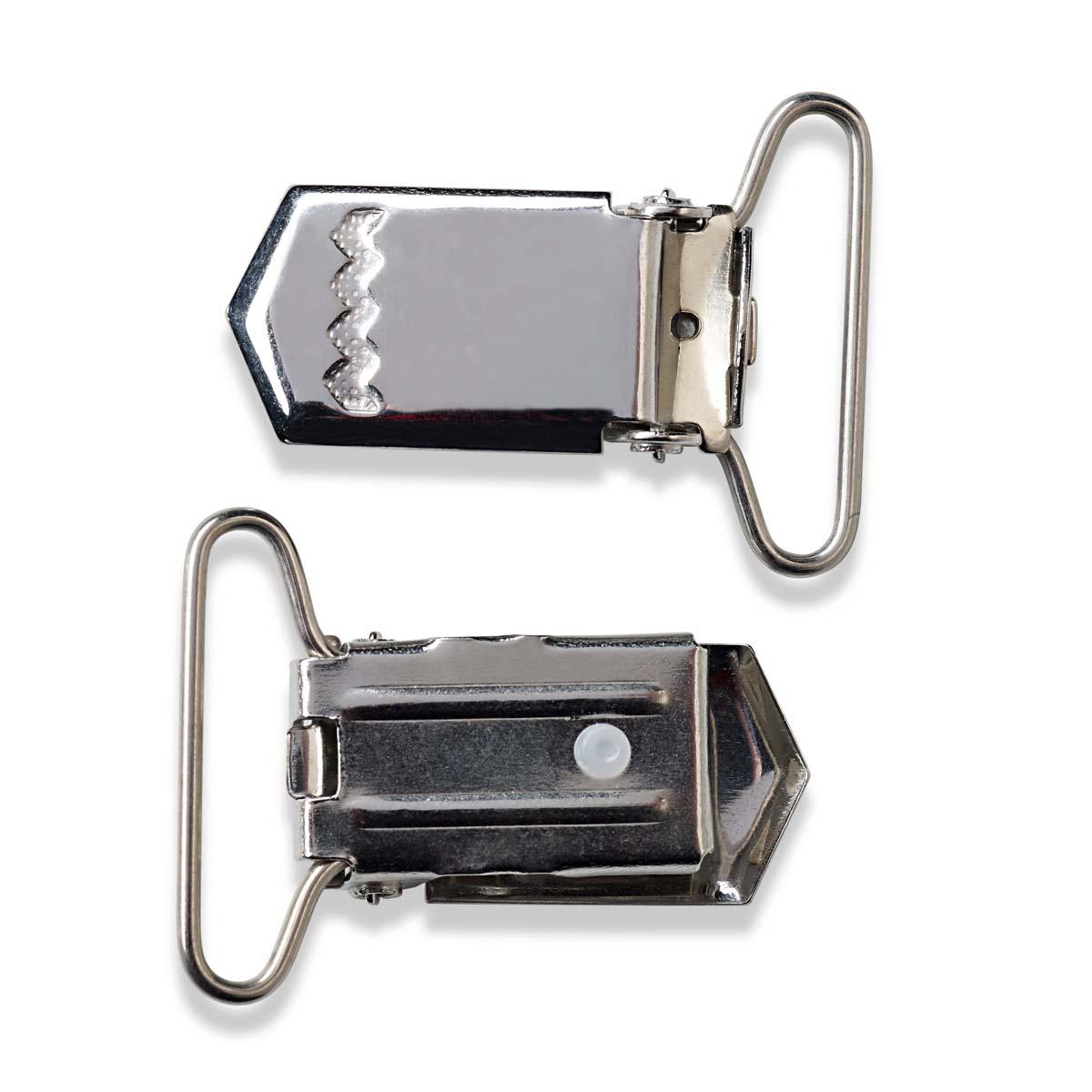 405220 Клипса для подтяжек для штанов, сталь, серебристый, 18 мм, упак./2 шт., Prym