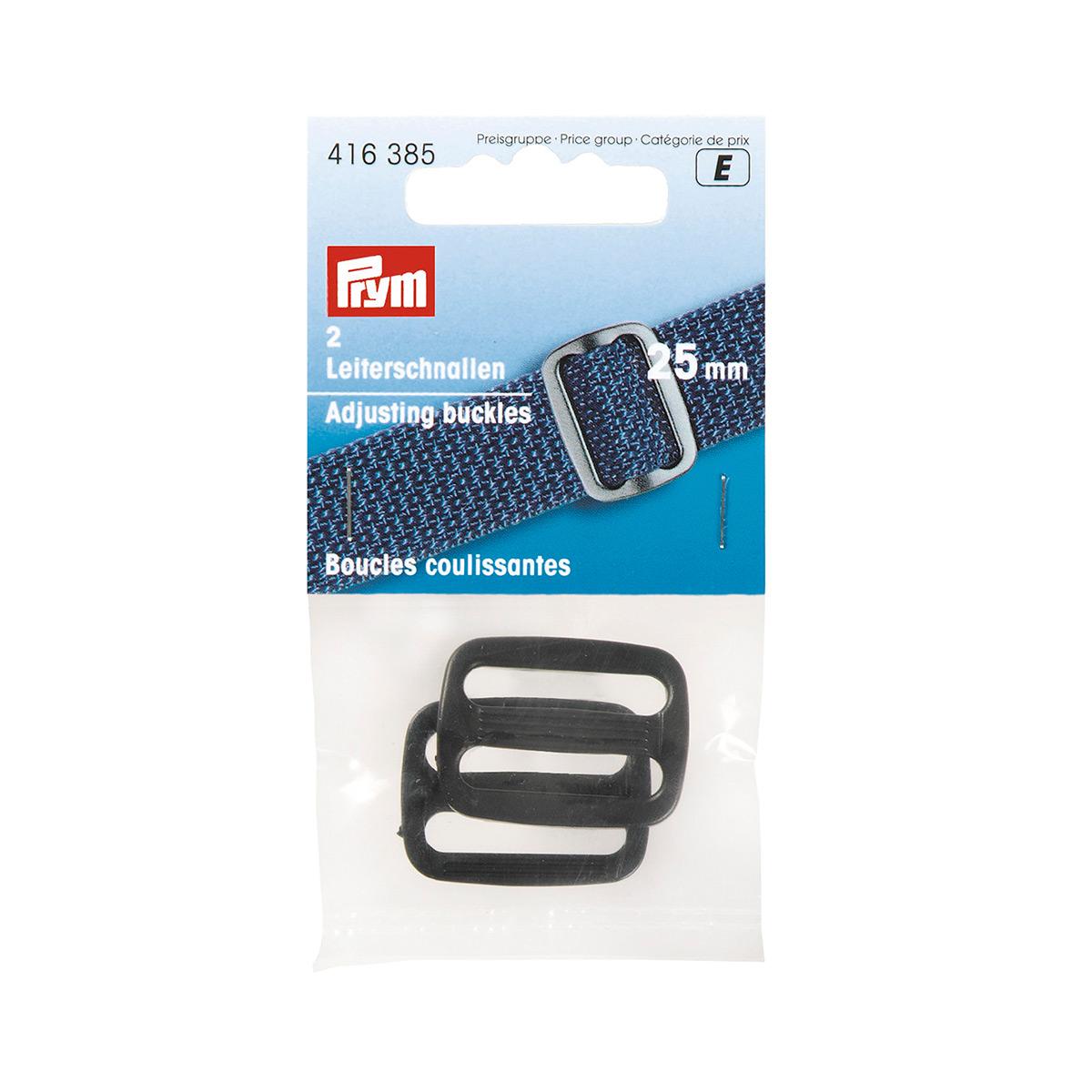416385 Пряжка регулировочная, пластик, 25 мм, черный, упак./2 шт., Prym