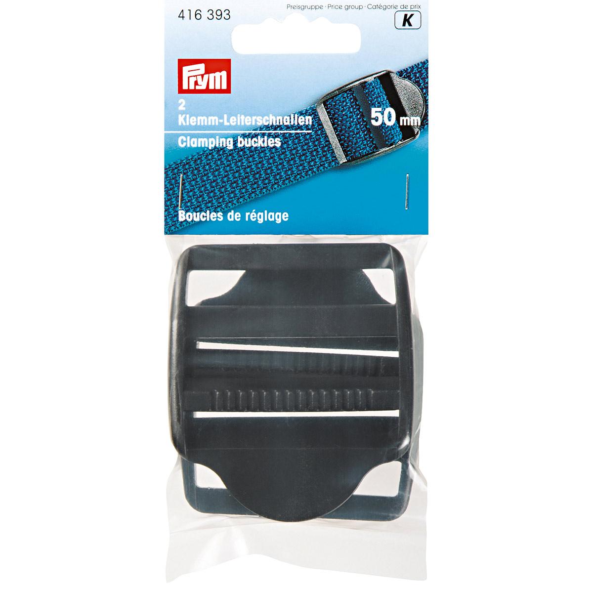 416393 Пряжка регулировочная с фиксатором, пластик, черный, 50 мм, упак./2 шт., Prym