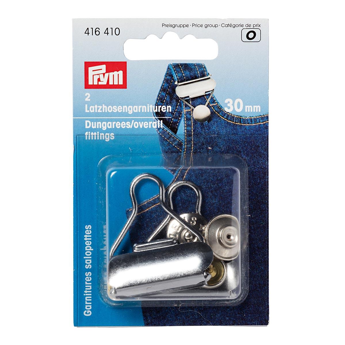 416410 Гарнитур для комбинезона, сталь, серебристый, 30 мм, упак./2 шт., Prym
