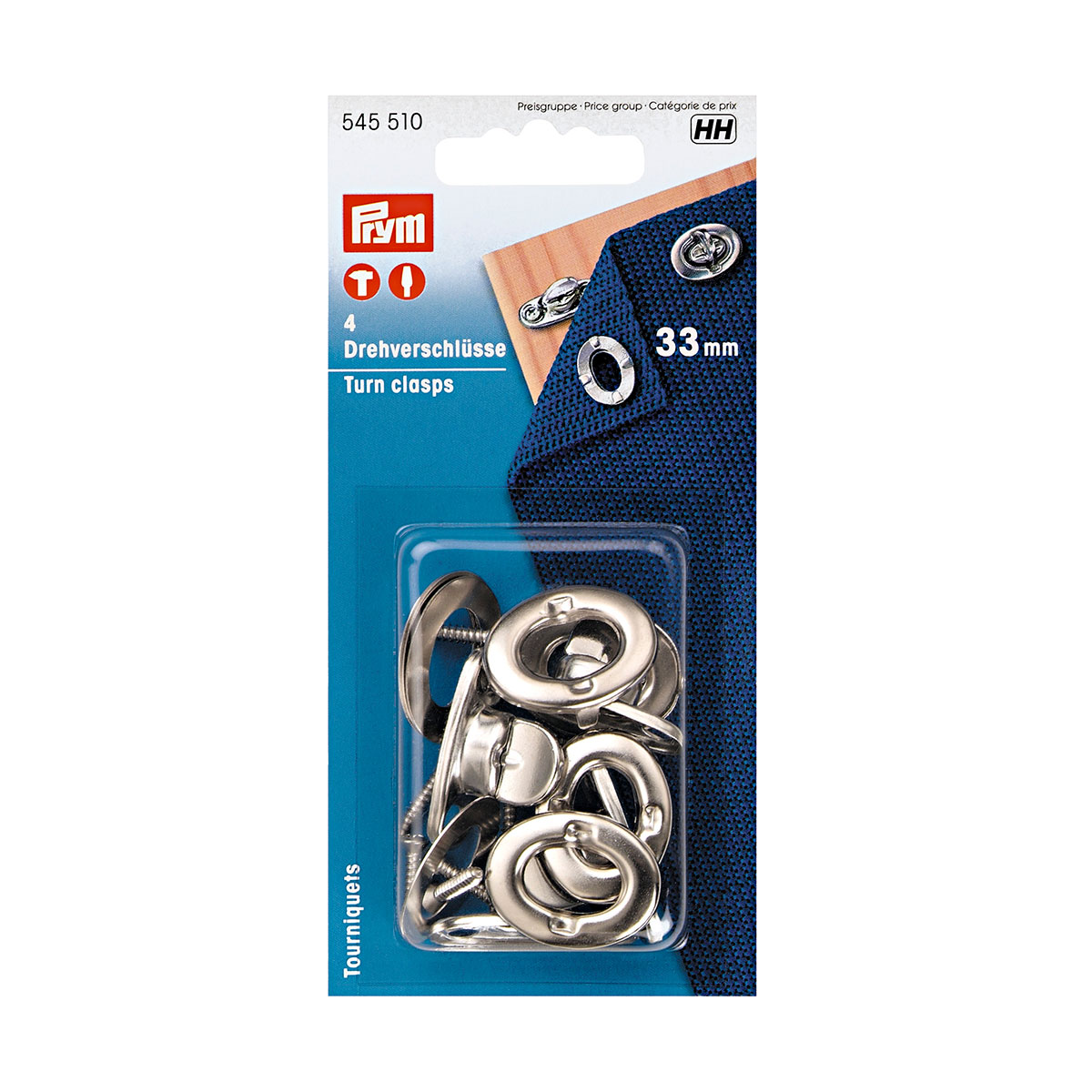 545510 Поворачивающиеся замки (латунь), серебристый, 33 мм, упак./4 шт., Prym