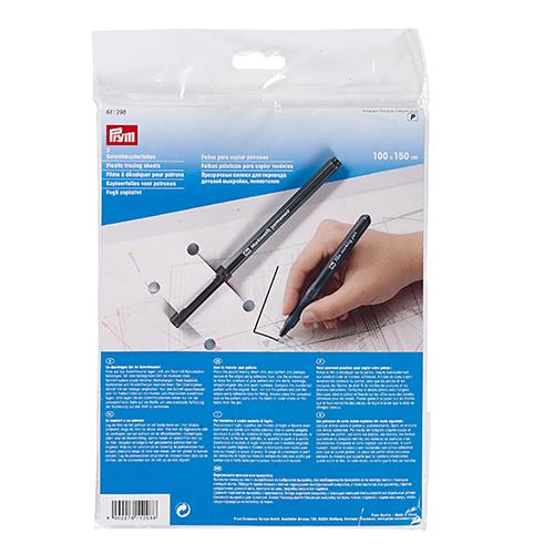 611298 Прозрачная пленка для перевода деталей выкройки 1х1,5м , 3 шт., с маркером Prym