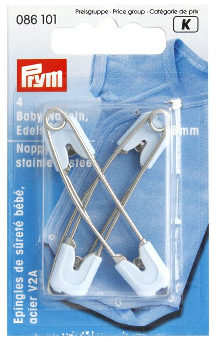086101 Детские безопасные булавки (сталь) светло голубой цв. 55 мм Prym