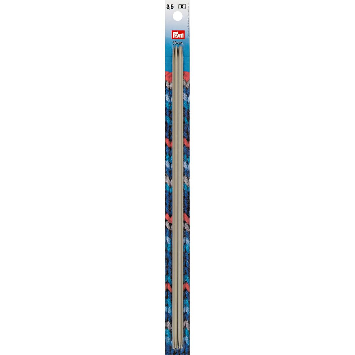 191558 Спицы чулочные, алюминий, жемчужно- серый, 30 см*3,5 мм, упак./5 шт., Prym