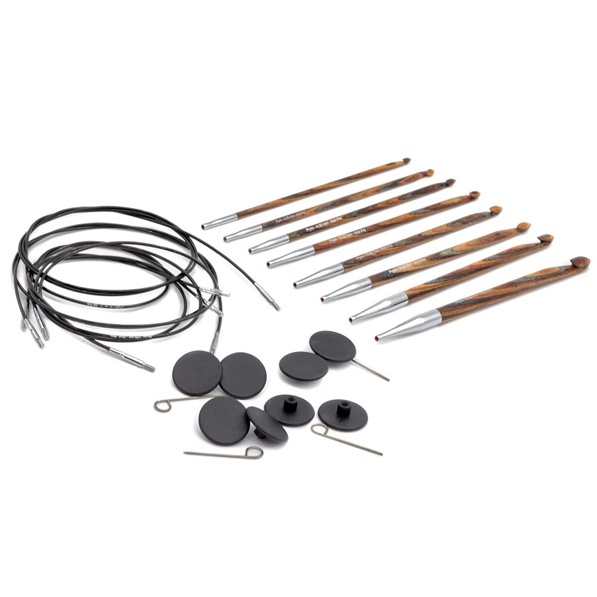 223810 Крючки для вязания тунисские, дерево/металл (набор), 3,5-8 мм, упак./8 шт., Prym
