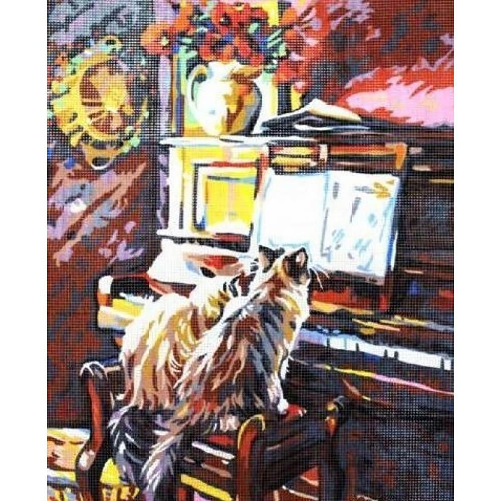 9880.0142.0487 Канва с рисунком Royal Paris 'Коты у рояля' 45*60 см