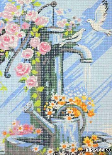 9880.0107.0063 Канва с рисунком Royal Paris 'Колонка в цветах' 18*24 см