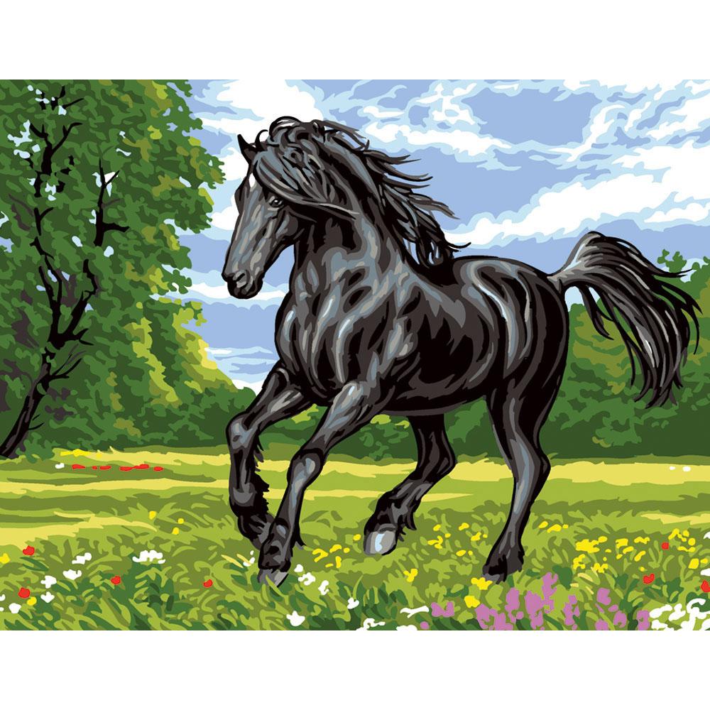 9880.0142.0477 Канва с рисунком Royal Paris 'Черный конь' 45*60 см