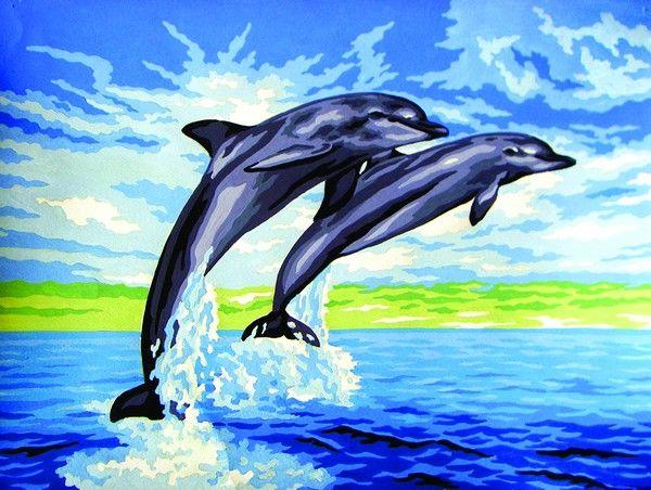 10429-CDA Канва с рисунком, Collection D`Art 'Дельфин' 30*40см
