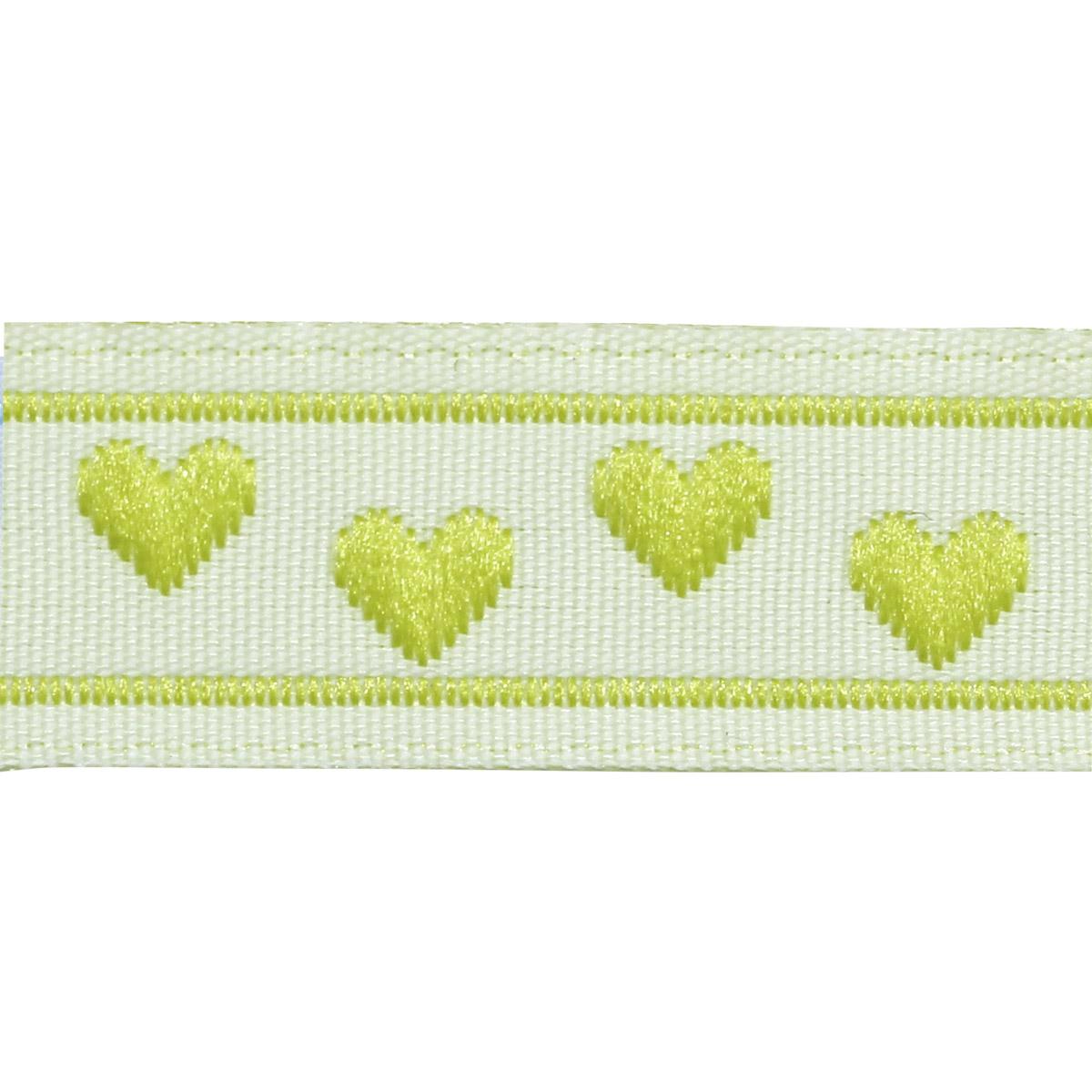 05-03504/11 Тесьма жаккардовая 11мм салат 'сердечки' ГР