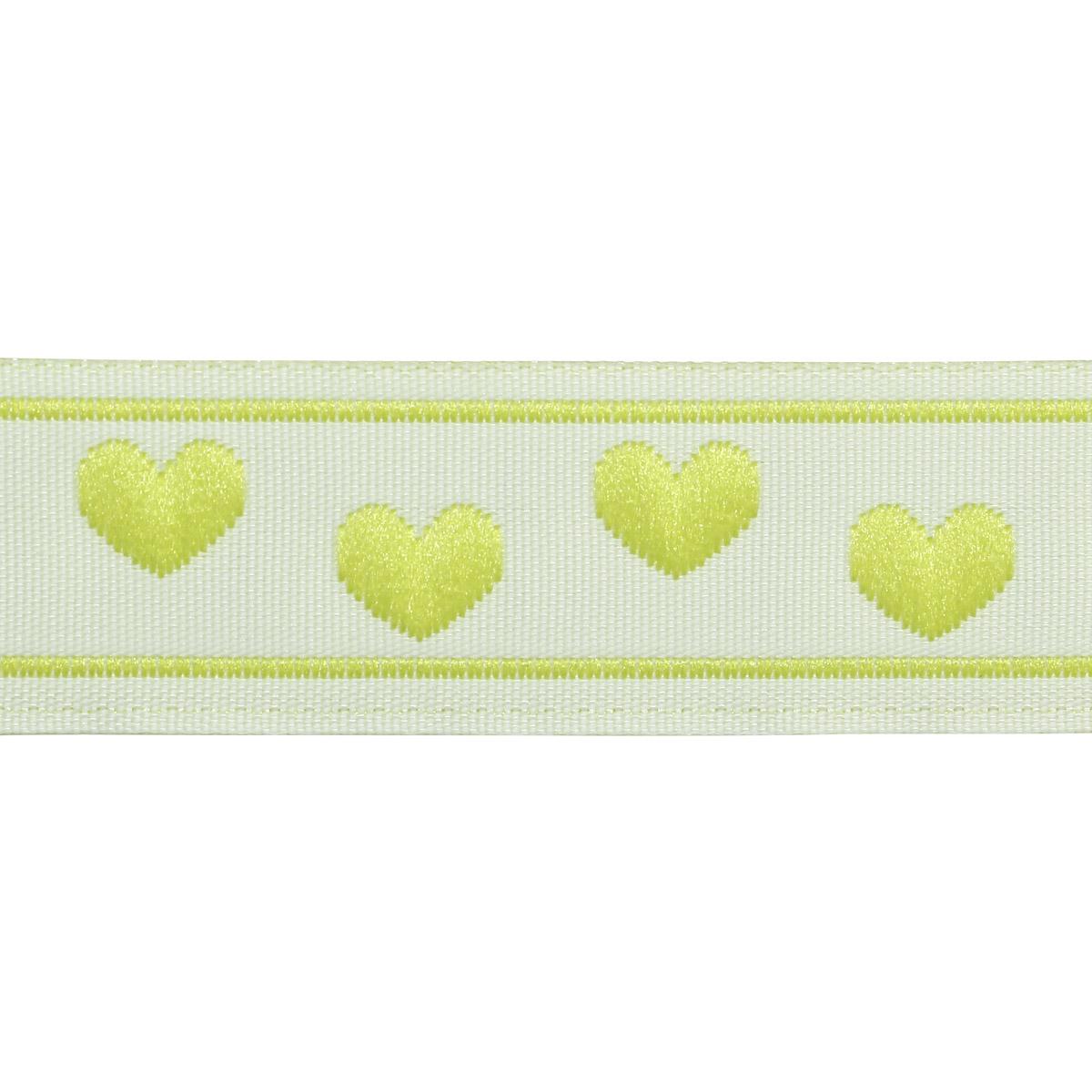 05-03504/17 Тесьма жаккардовая 17мм салат 'сердечки' ГР