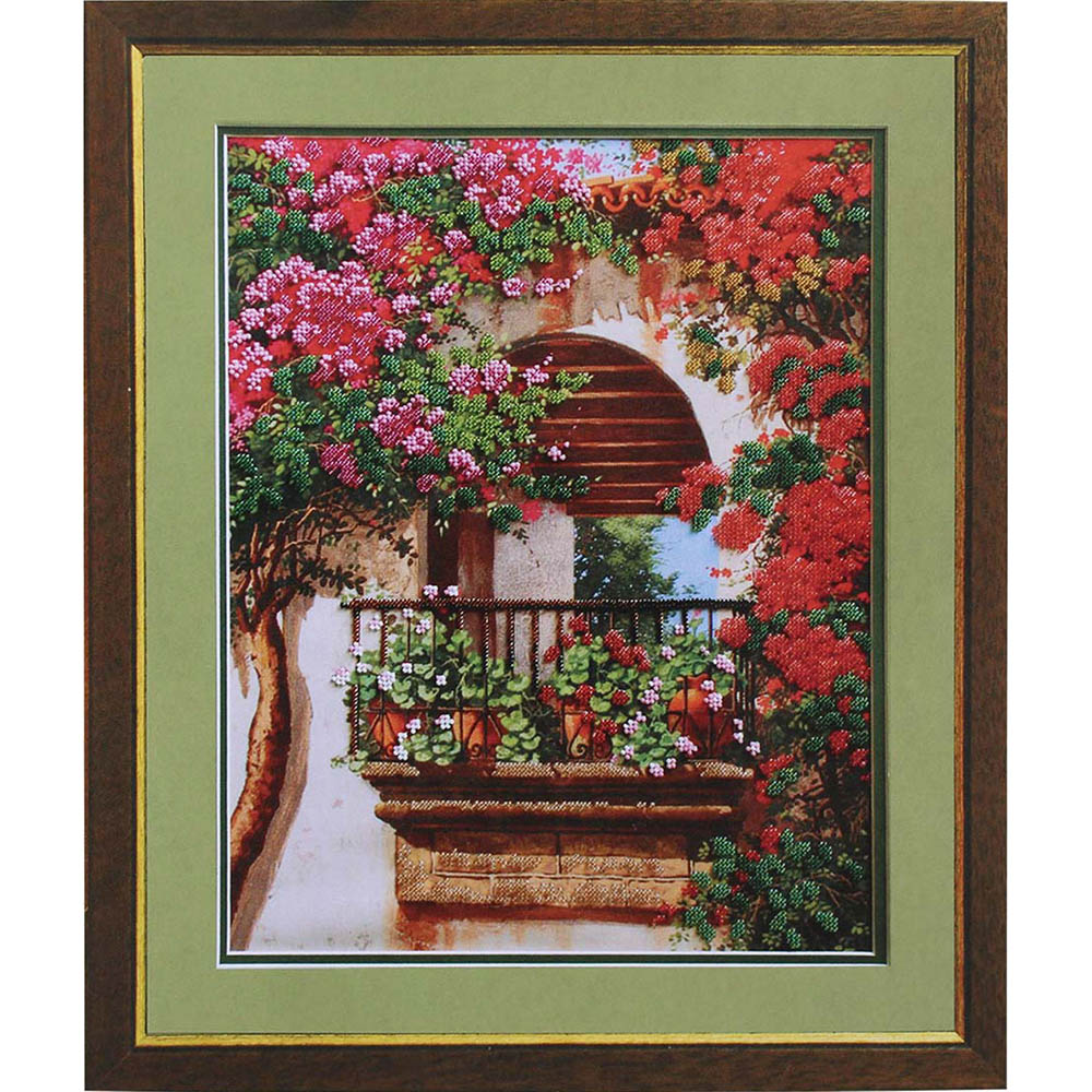 Б-563 Набор для вышивания бисером 'Чарівна Мить' 'Цветы на балконе', 36,5*29 см