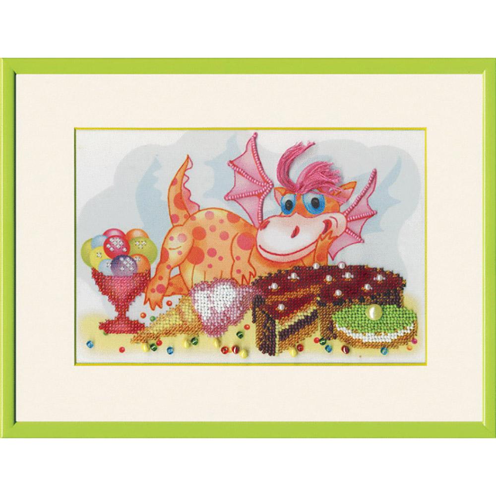 Б-630 Набор для вышивания бисером Чарівна Мить «Дракон-сладкоежка» 21*14,5см