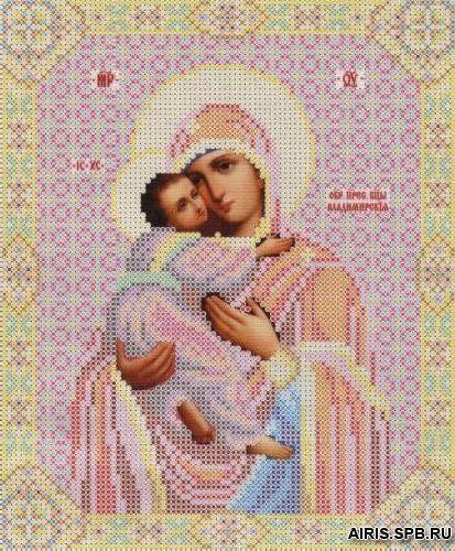 СБИ-002 Схема для вышивания бисером иконы 'Чарівна мить' 'Владимирская', 17,7*21,7 см