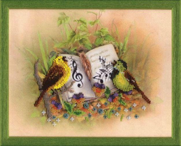 Б-674 Набор для вышивания бисером Чарівна Мить 'Птицы-певцы' 35,5*46см