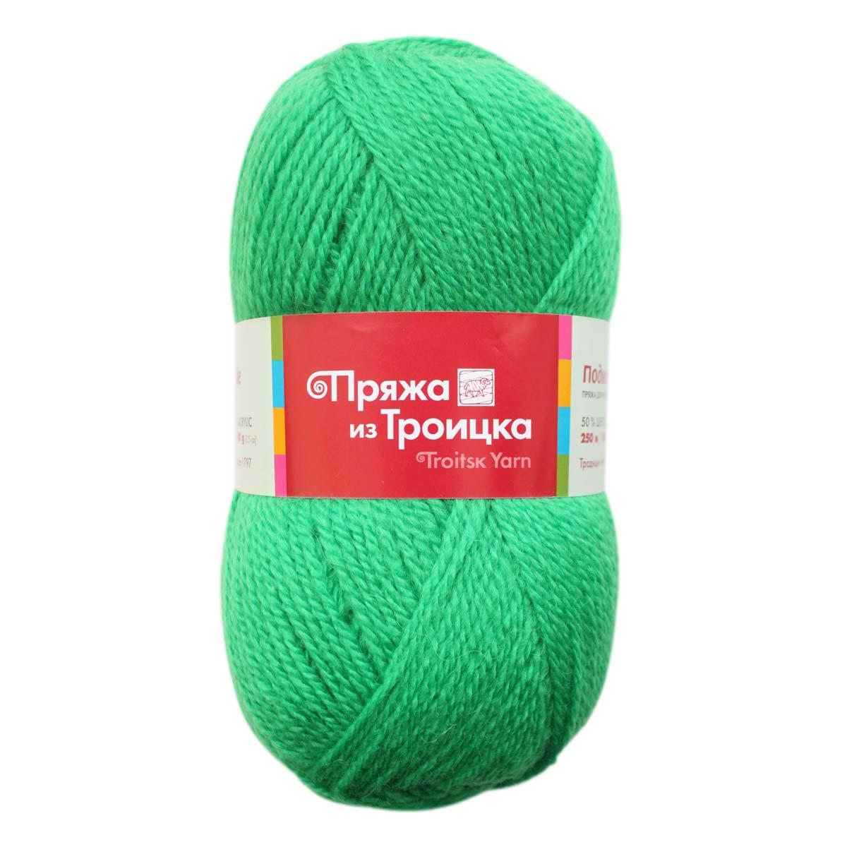 Пряжа из Троицка 'Подмосковная' (50%шерсть, 50%акрил) (0723 ярко-зеленый)