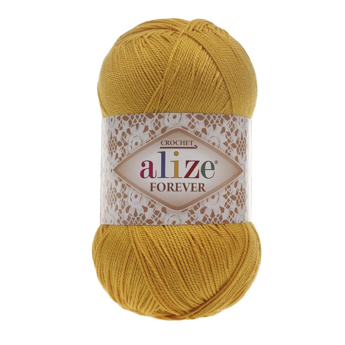 Пряжа ALIZE 'Forever crochet' 50гр. 300м. (100% микроакрил) ТУ (488 темно-желтый) фото