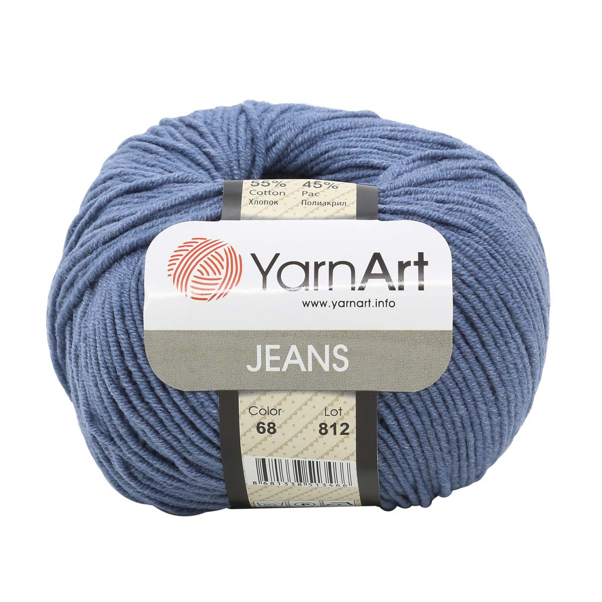 Пряжа YarnArt 'Jeans' 50гр. 160м. (55%хлопок, 45%ПАК) ТУ