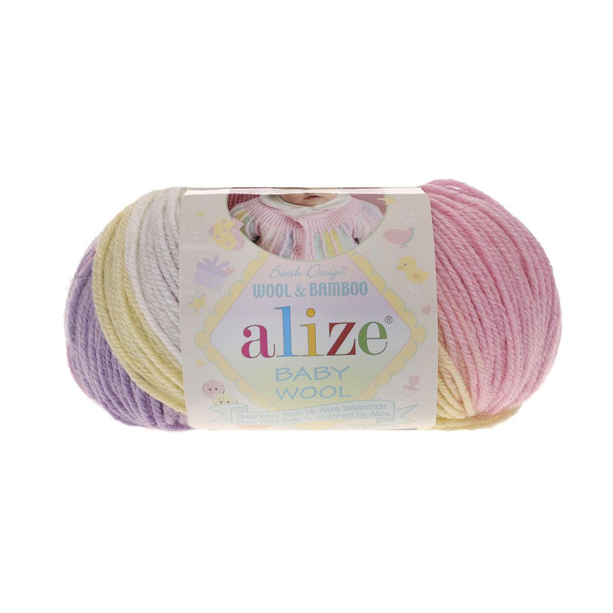Пряжа ALIZE 'Baby wool batik' 50гр. 175м (20%бамбук, 40%шерсть, 40%акрил) (4006 секционный) фото