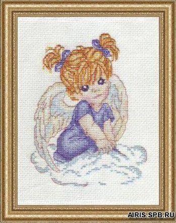 1002 Набор для вышивания Alisena 'Ангелочек в голубом' 10*13см
