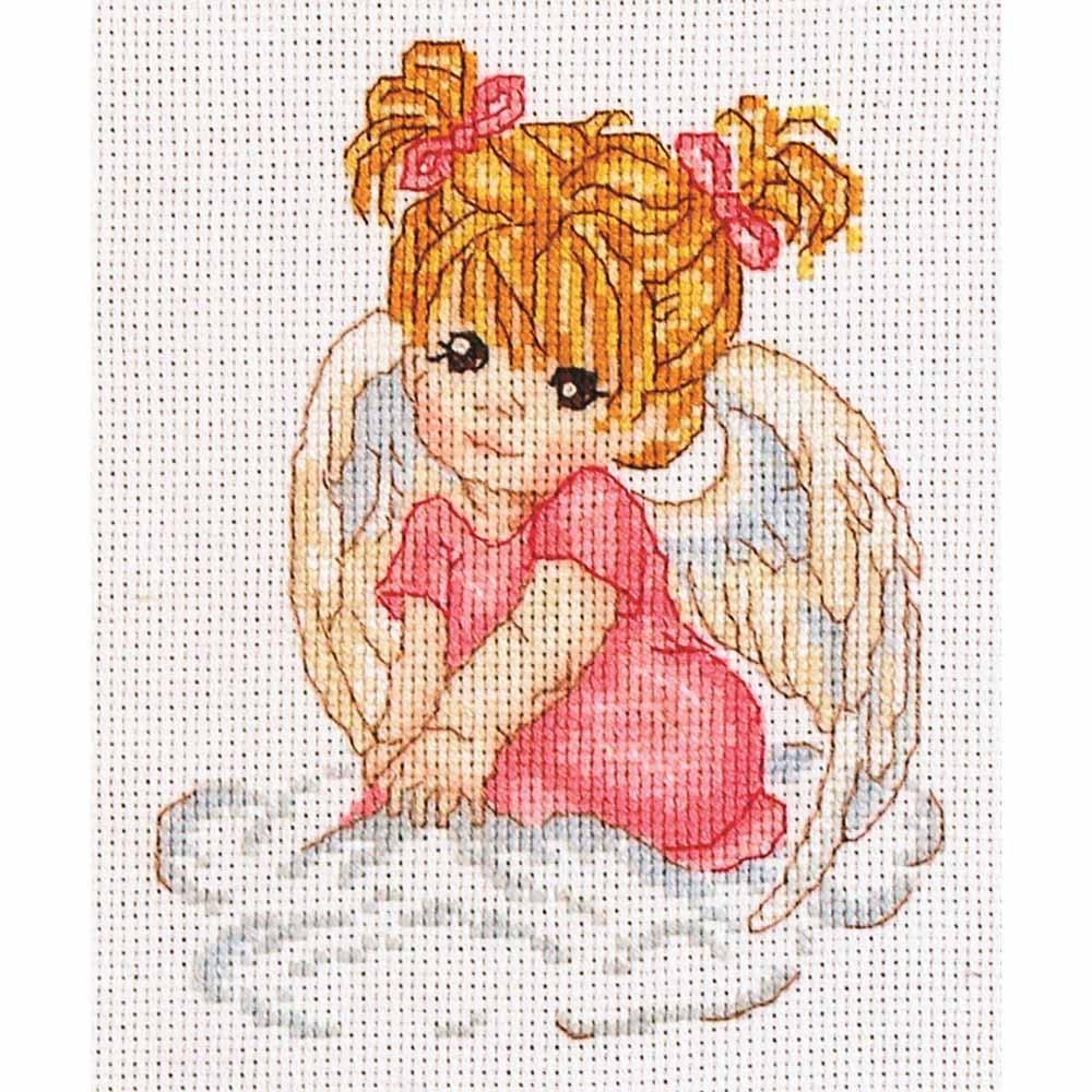 1003 Набор для вышивания Alisena 'Ангелочек в розовом', 10*13 см
