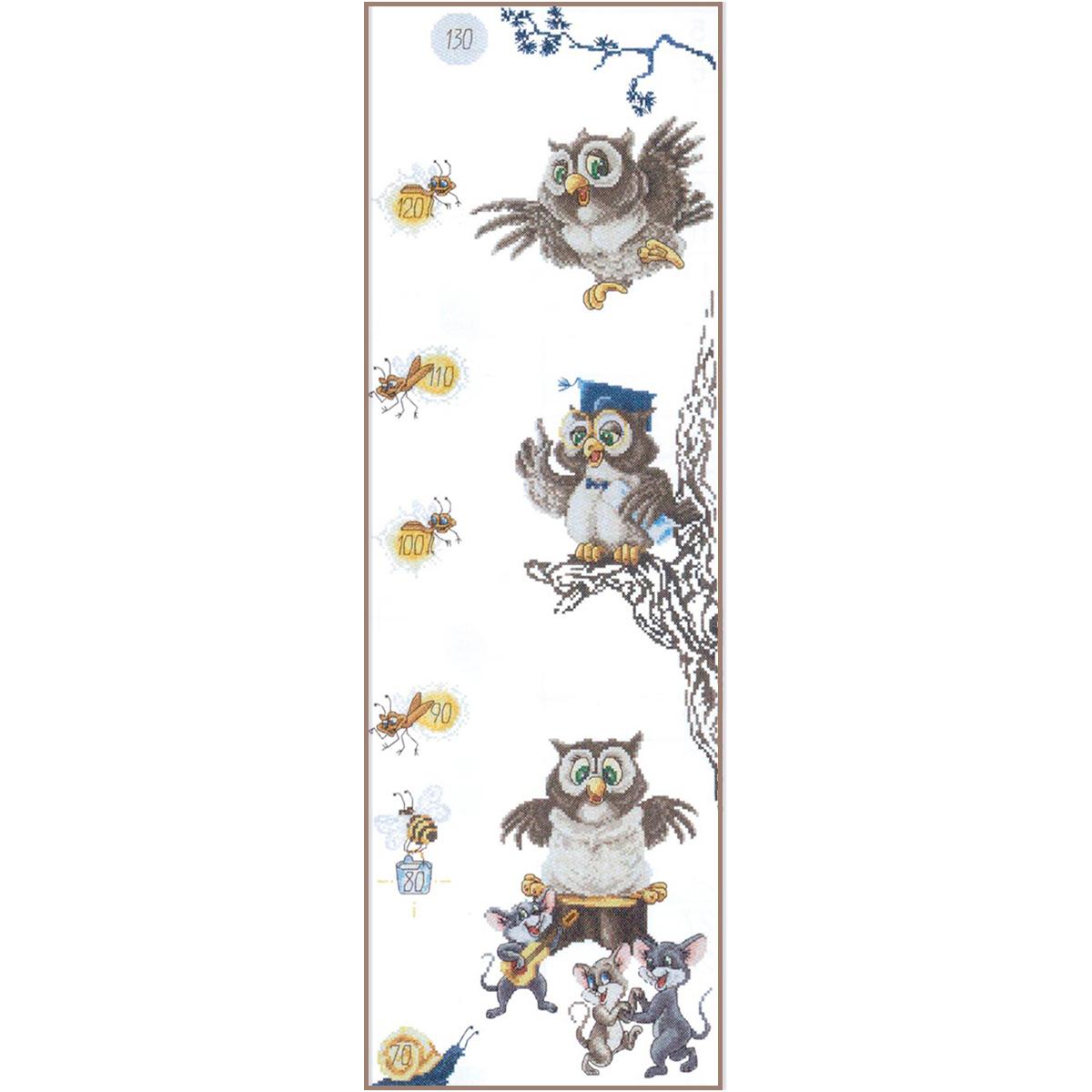 1031 Набор для вышивания Alisena ростомер 'Сова', 21*64 см