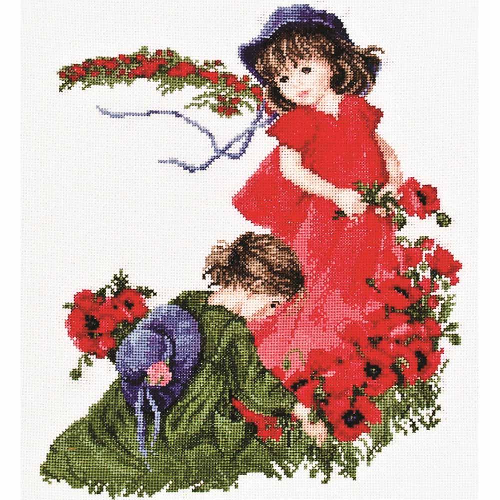 1032-1 Набор для вышивания Alisena 'Девочки в маках' 27*31см