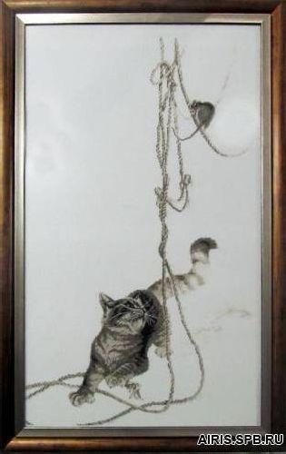 1033 Набор для вышивания Alisena 'Кошки-мышки' 33*57см