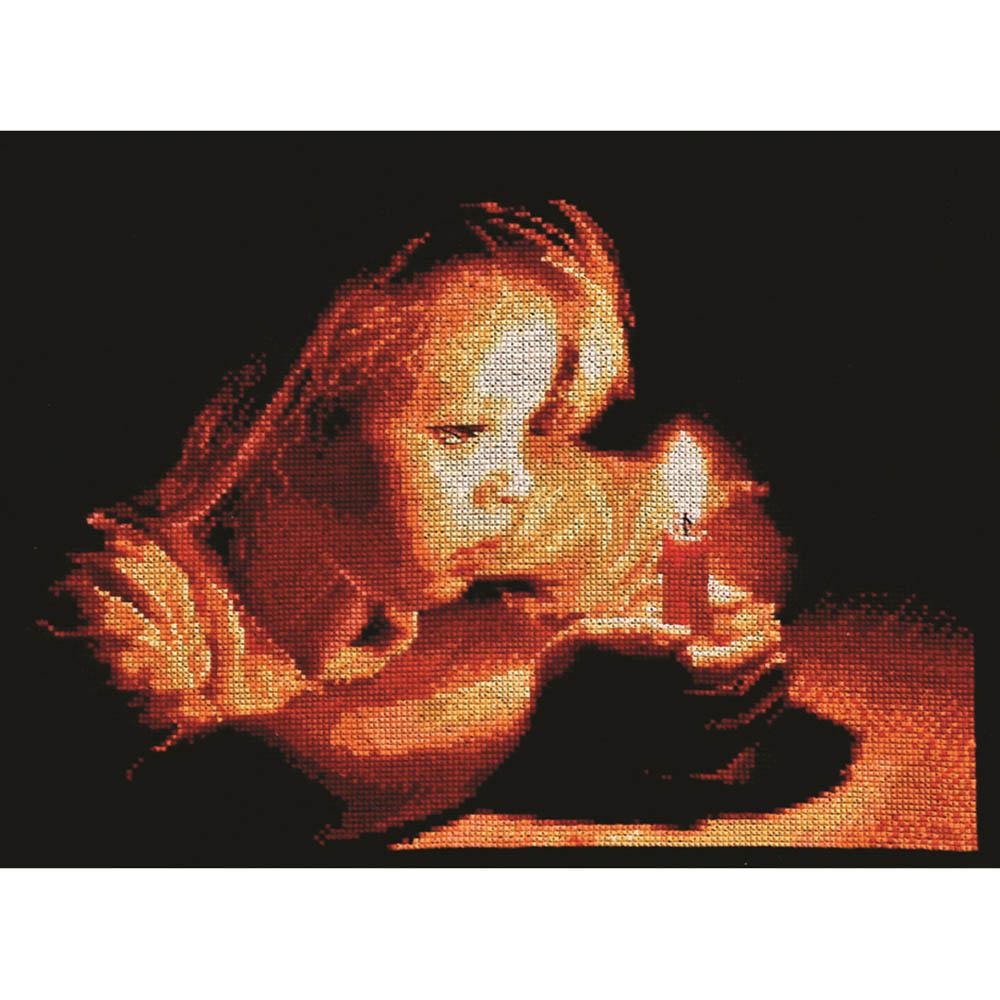 1036 Набор для вышивания Alisena 'Девочка со свечей', 26*19 см