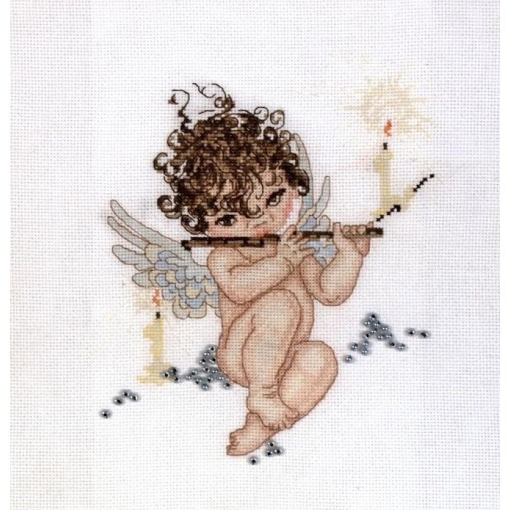 1037 Набор для вышивания Alisena 'Ангелочек с флейтой' 18*20см