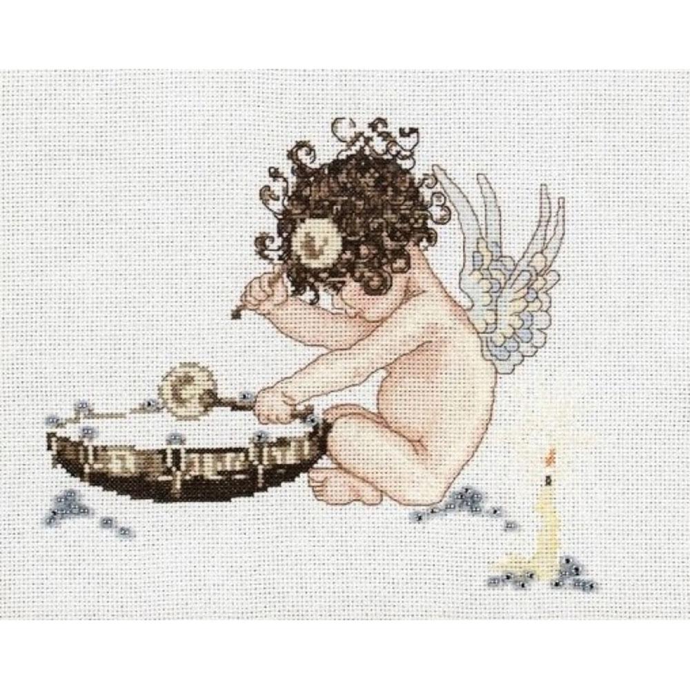 1038 Набор для вышивания Alisena 'Ангелочек у барабана' 20*16см