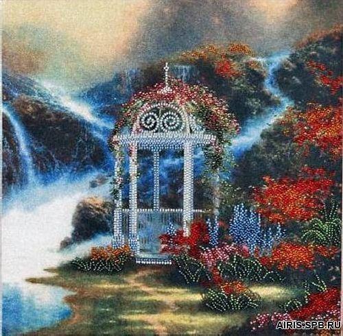 В1001 Канва с рисунком Alisena 'Беседка у ручья', 30*30 см