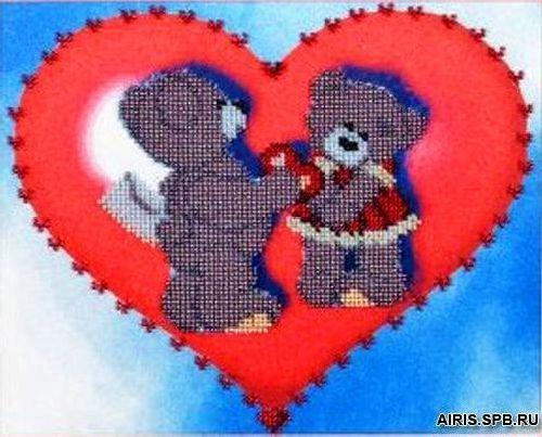 В1002 Канва с рисунком Alisena (Валентинка с мишками)