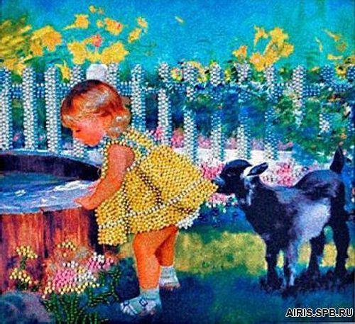 В1012 Канва с рисунком Alisena (Девочка с козленком)