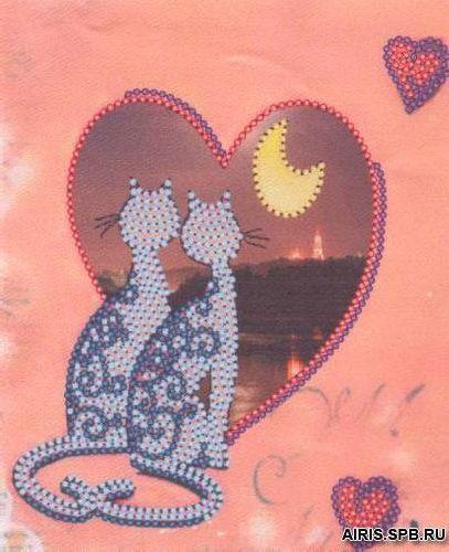 В1032 Канва с рисунком Alisena 'Валентинка с котятами', 12*15 см