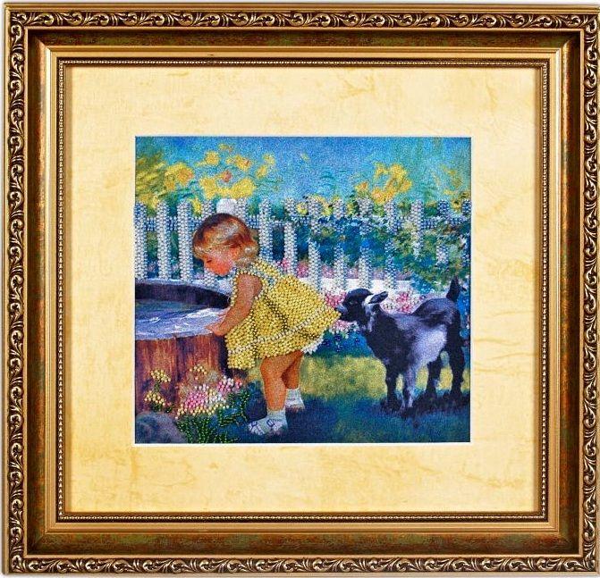 ВН1012 Набор для вышивания Alisena 'Девочка с козлёнком' 22*20 см