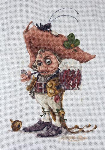 1042 Набор для вышивания Alisena 'Гномик с кружкой', 16*25 см