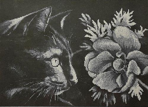 1061 Набор для вышивания Alisena 'Кот анемон', 30*20 см
