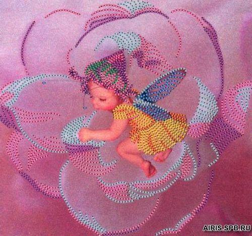 В1049 Канва с рисунком Alisena 'Цветочная фея', 21*19,5 см