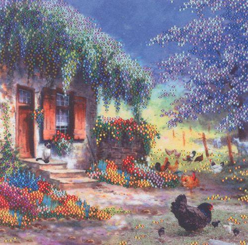 В1068 Канва с рисунком Alisena 'Цветочный домик', 20*20 см