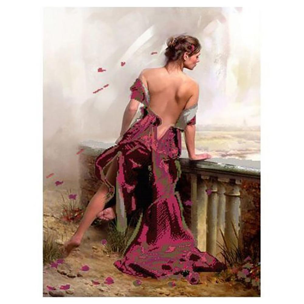 55000 Набор для вышивания бисером Astrea 'Девушка в красном', 45х60 см