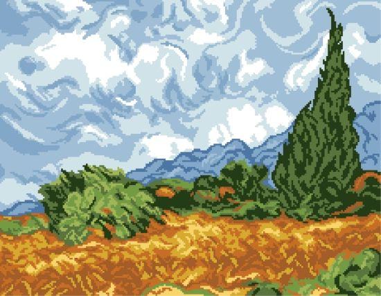200139 Канва с рисунком ГК (Пшеничное поле с кипарисами, худ. Винсент ван Гог) 40х50