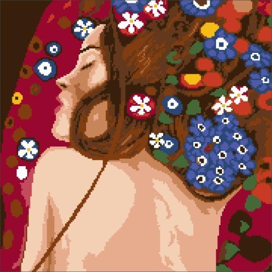 200121 Канва с рисунком ГК (Водяные змеи (фрагмент), худ. Густав Климт) 40x40