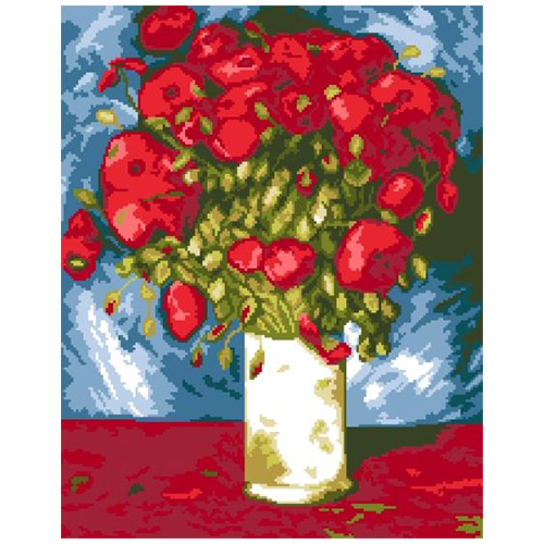 200132 Канва с рисунком ГК (Ваза с цветами) 38x46