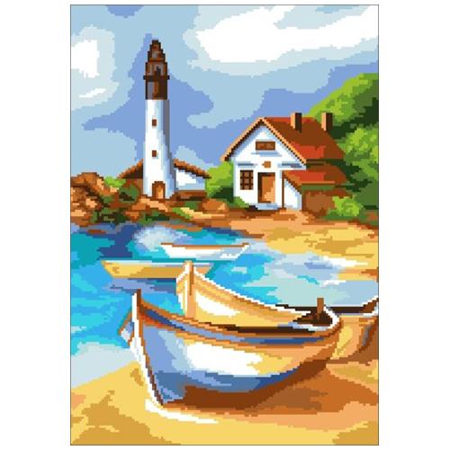 200102 Канва с рисунком ГК (Лодки на берегу залива) 32x45