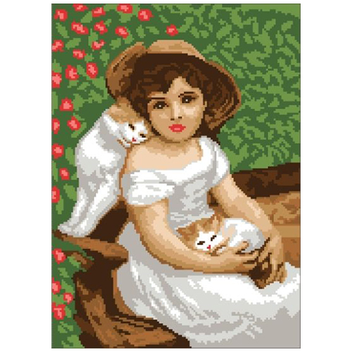 200112 Канва с рисунком ГК (Девочка с котятами) 30x40