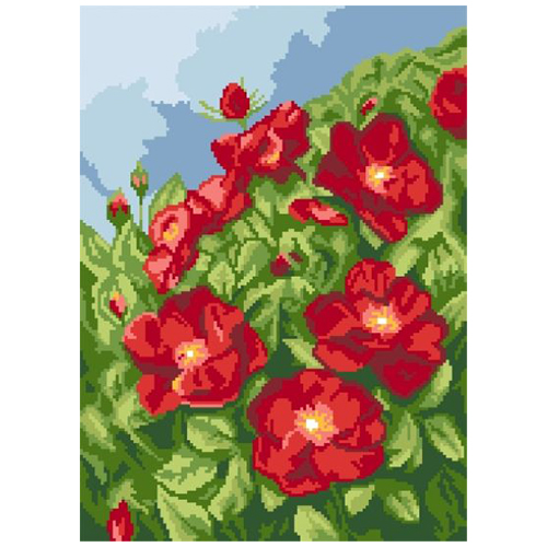 200122 Канва с рисунком ГК (Цветы) 30x40