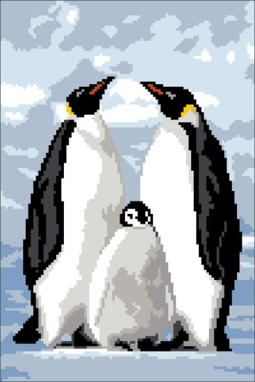 200105 Канва с рисунком ГК (Пингвины) 24x34