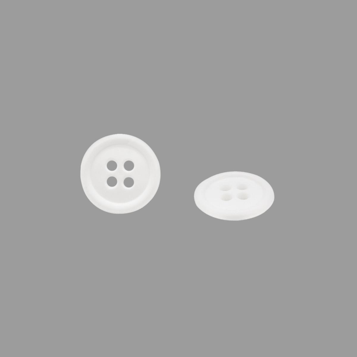 КЛ14-4 Пуговица 4 пр., белый, 14 мм