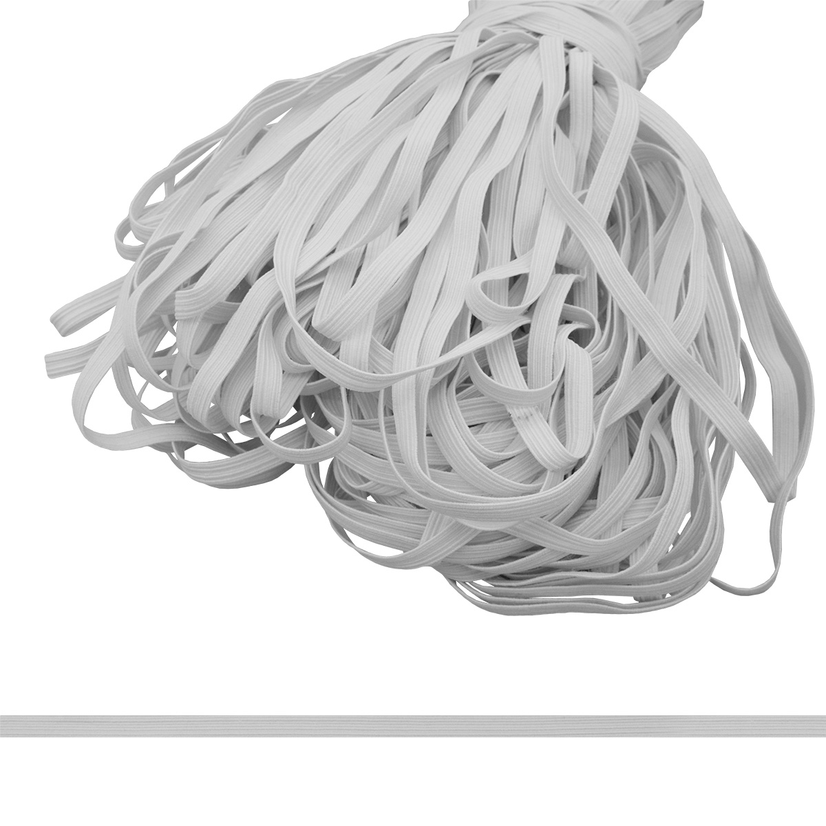 Тесьма эластичная, 7 мм*100 м, белый